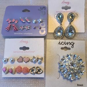 Claire's and Icing Earrings and Brooch